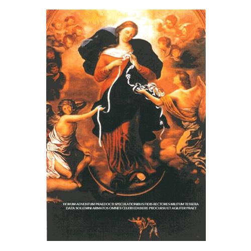 Au recto : reproduction en quadrichromie du groupe central de « Marie qui défait les nœuds». Au verso, prière centrale de la neuvaine du Père Juan-Ramon Celeiro. Papier glacé. 11 x 16cm.